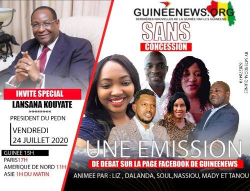 Lansana Kouyaté, président du PEDN à l'émission sans concession de Guinéenews© vendredi 24 juillet à 15h GMT